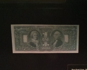 George and Martha Washington dollar bill
