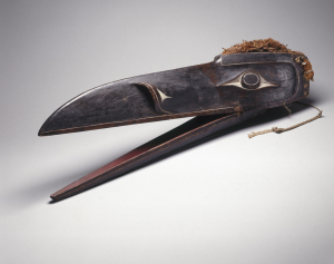 Raven Mask Kwakwaka'wakw; 1801–1900 Wood, pigment, cedar bark Collection of the Brooklyn Museum, 15.513.3a-c Photo: David De Armas