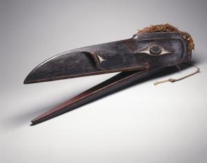 Raven Mask Kwakwaka'wakw; 1801–1900 Wood, pigment, cedar bark Collection of the Brooklyn Museum, 15.513.3a-c Photo: David De Armas