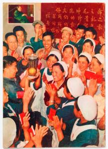 Factory workers at Beijing Knitting Mill applauding the mango.